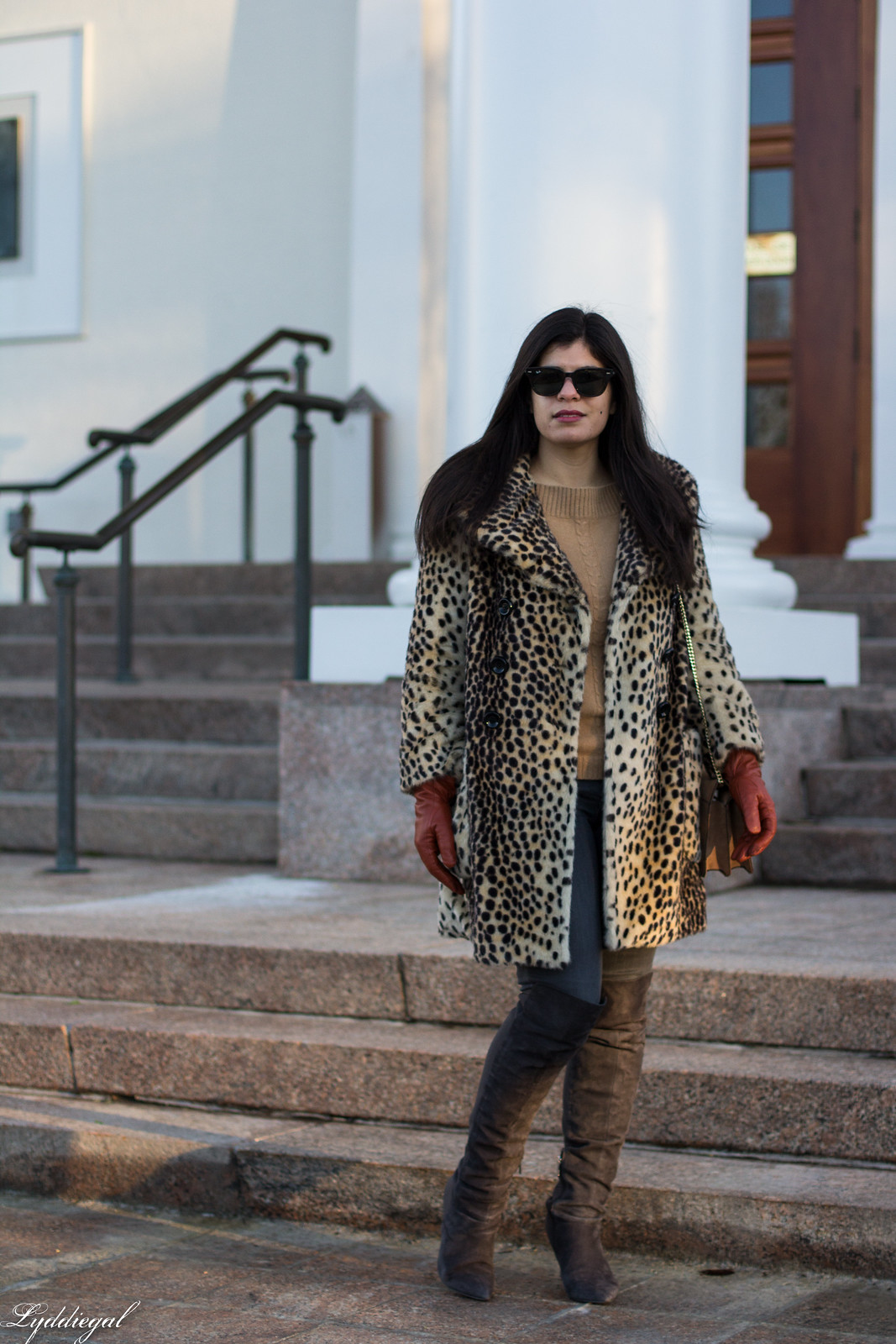 leopard fur coat, grey jeans, over the knee boots, camel sweater, winter outfit.jpg
