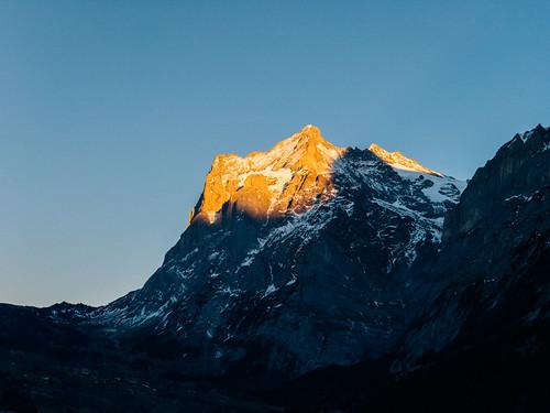 peak mountain mountaineering alpine alp summit mountainscape alps alpinism snowcapped glacier pass switzerland sunset grindelwald jungfrau region swiss bern ch