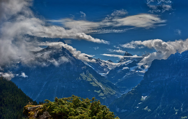 The Finsteraarhorn & Schreckhorn  mountains Panorama. Canton of Bern ; Switzerland. Panorama no. 8411+8412.