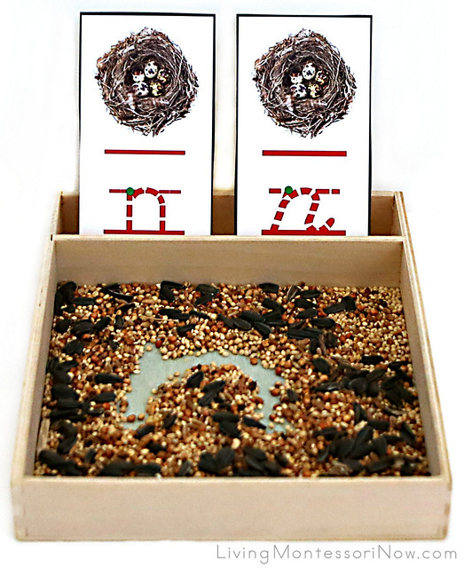 N is for Nest Birdseed Writing Tray