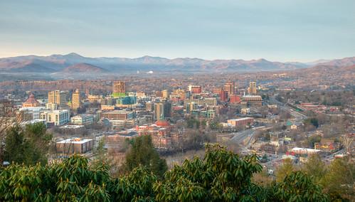 asheville north carolina mountain city cityscape landscape nc ashevillenorthcarolina ashevillenc smokymountains smoky mountains morning sun sunrise