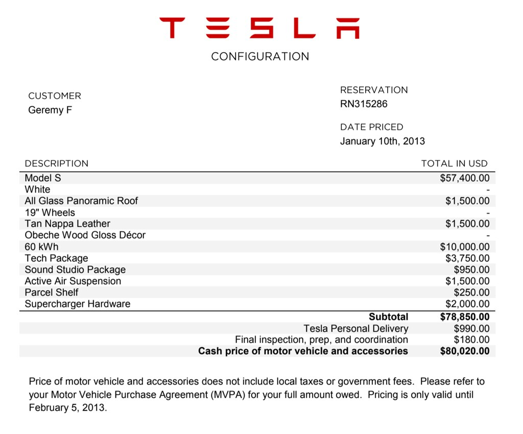Tesla Purchase Order from '13