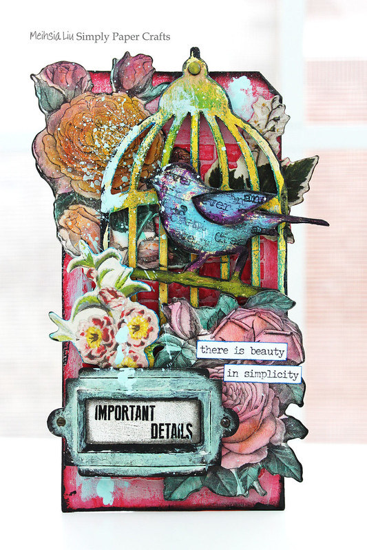 Meihsia Liu Simply Paper Crafts Mixed Media My Garden Bird Cage Bonanical Flowers Simon Says Stamp Tim Holtz 1