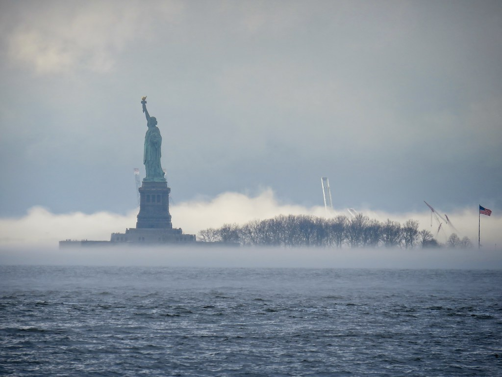 Liberty Island in fog