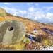 Unfinished grindstones at Stanage Edge, Derbyshire Peak District, UK