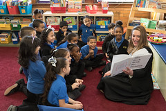 "State Rep. Stephanie Cummings visited and read ""The Book With No Pictures"" by B.J. Novak to Barbara Franck's 1st grade class at Chuildren's Community School."