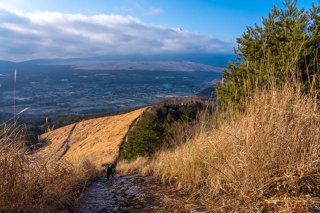 高座山への急斜面・・・背後から富士山が!