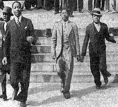 Afro journalist Fred Weaver, center, at Capitol protest: 1934