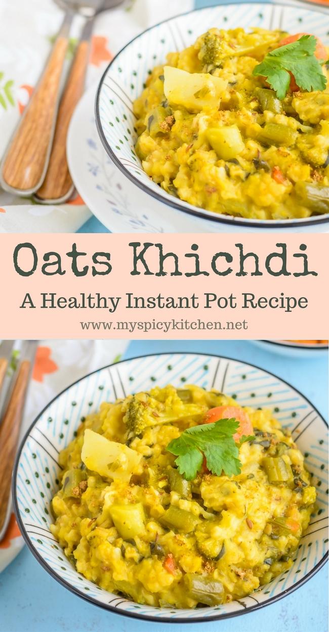 Bowl of Instant Pot Oats Lentils Porridge or khichdi pin.