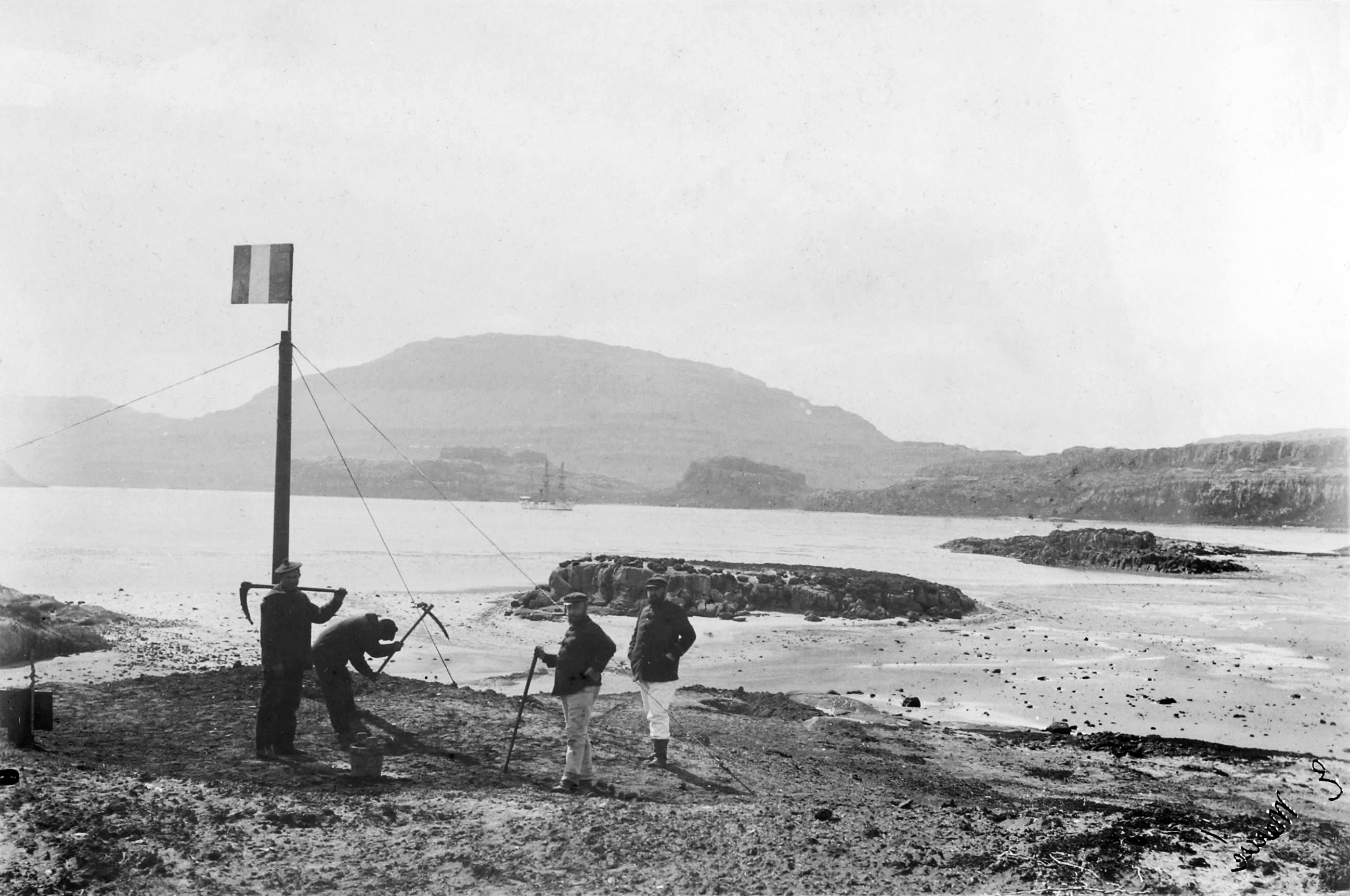 French sailors officially taking possession of the Kerguelen Islands on January 8, 1893.