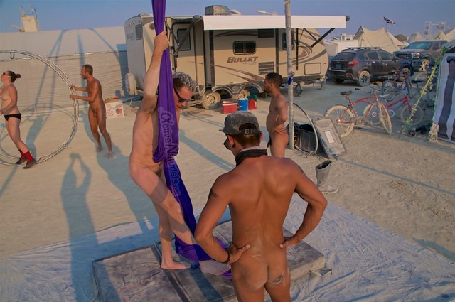 naturist aerial camp Gymnasium 0016 Burning Man, Black Rock City, NV, USA