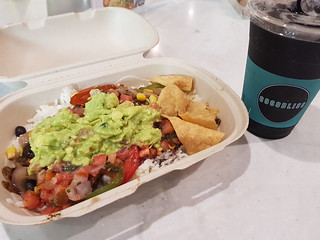 Burrito Bowl from Gomez and Charcoal Smoothie from Cocobliss