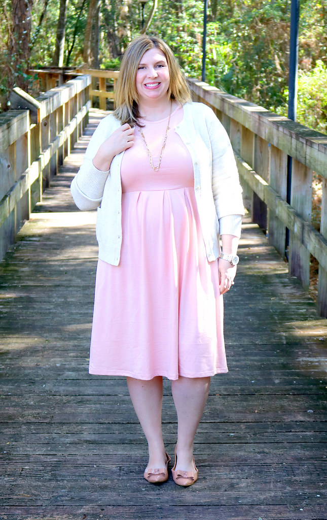 blush dress, cream cardigan, bow flats 4