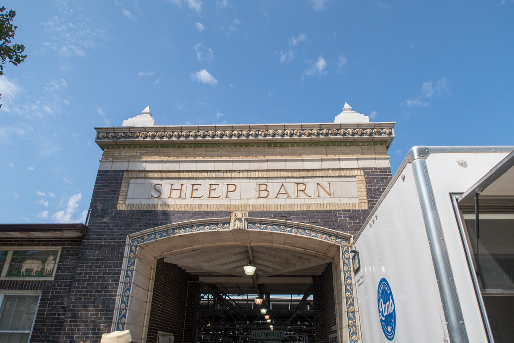 Sheep barn sign exterior at Iowa State Fairgrounds