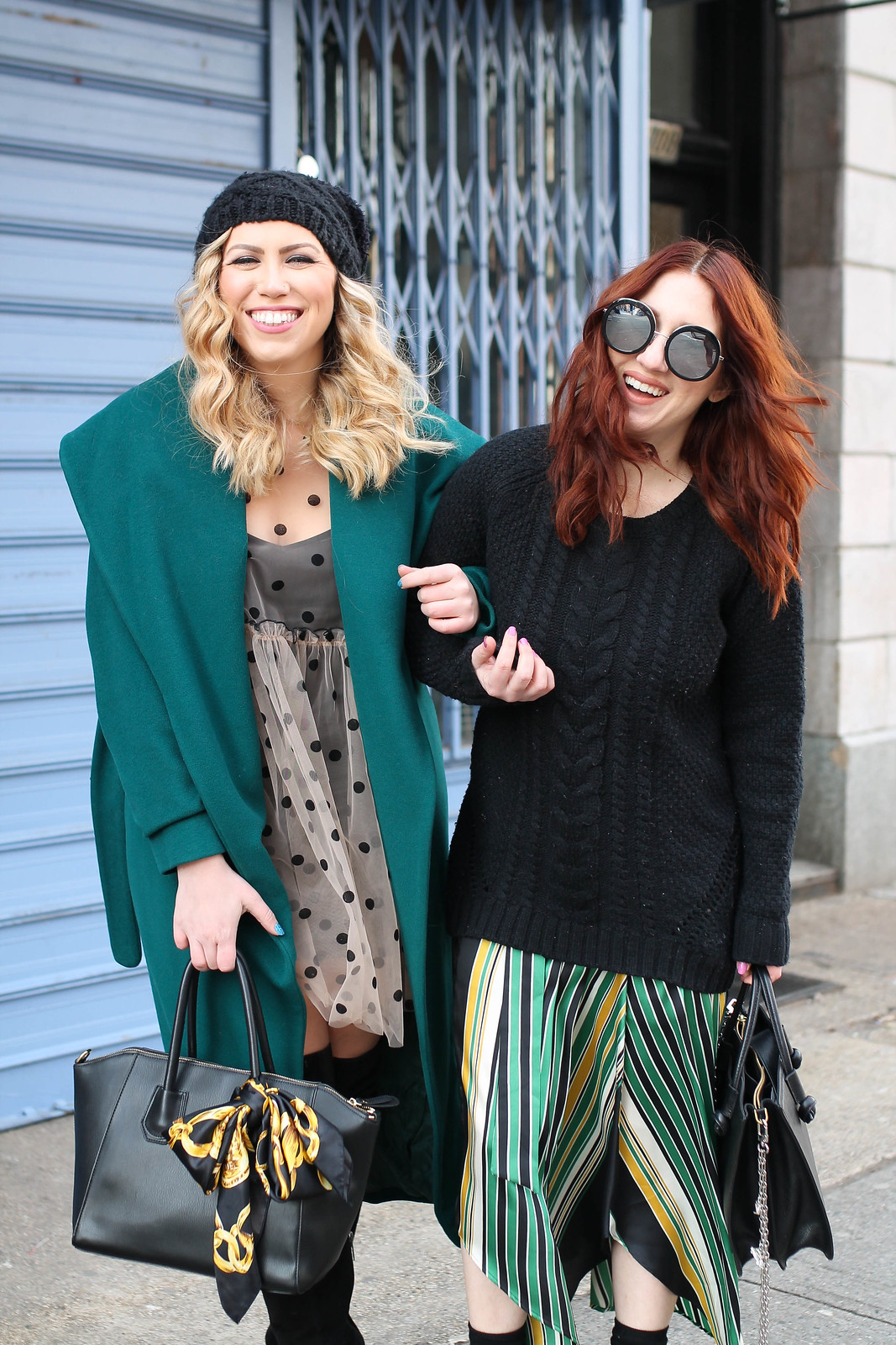 Early Spring Chilly Weather Outfit Inspiration Laughing Fun Photoshoot