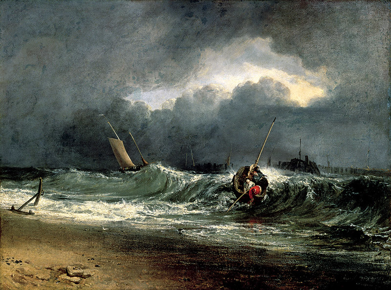 J・M・W・ターナー《風下側の海辺にいる漁師たち、時化模様》(1802年展示、サウサンプトン・シティ・アート・ギャラリー)On loan from Southampton City Art Gallery(C)Bridgeman Images/DNP artcom