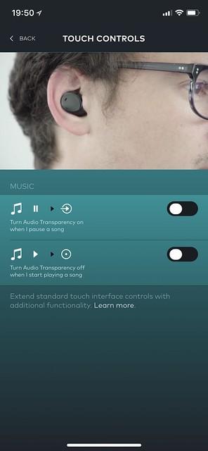 Bragi iOS App - Controls - Touch Controls