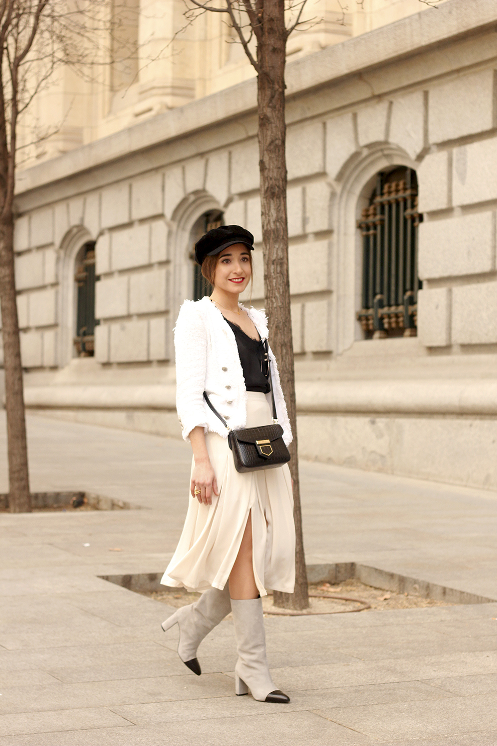 midi blush skirt white tweed jacket givenchy bicolor uterqüe boots winter outfit03