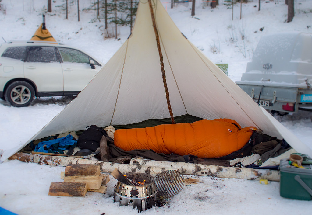 Winter camping in Nuuksio National Park, Finland