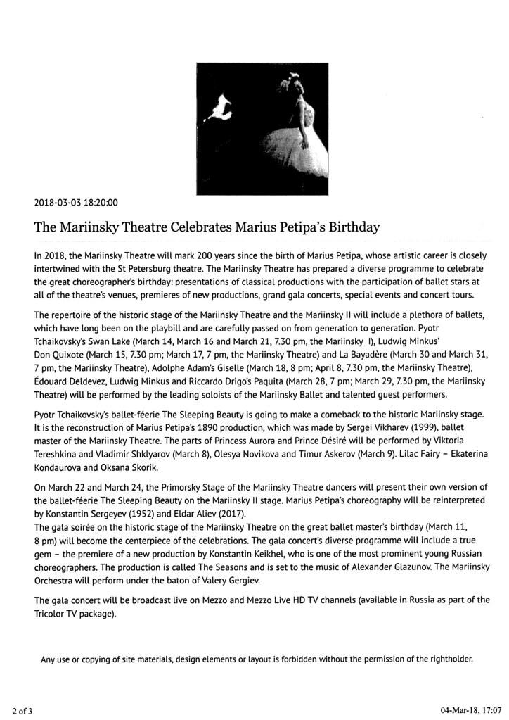 Mariinsky Petipa 200 Notice