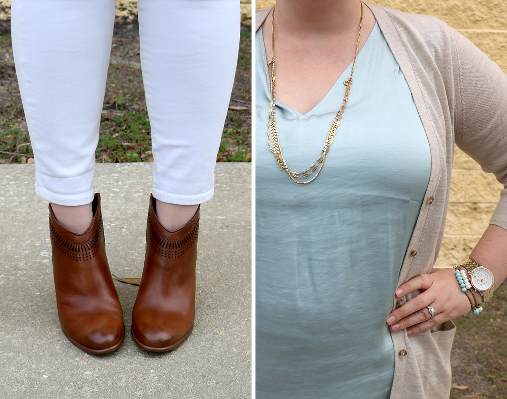 white jeans, tan cardi, aqua shell, cognac booties 7