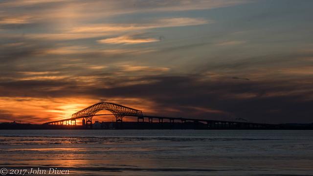 Francis Scott Key Bridge at Sunset