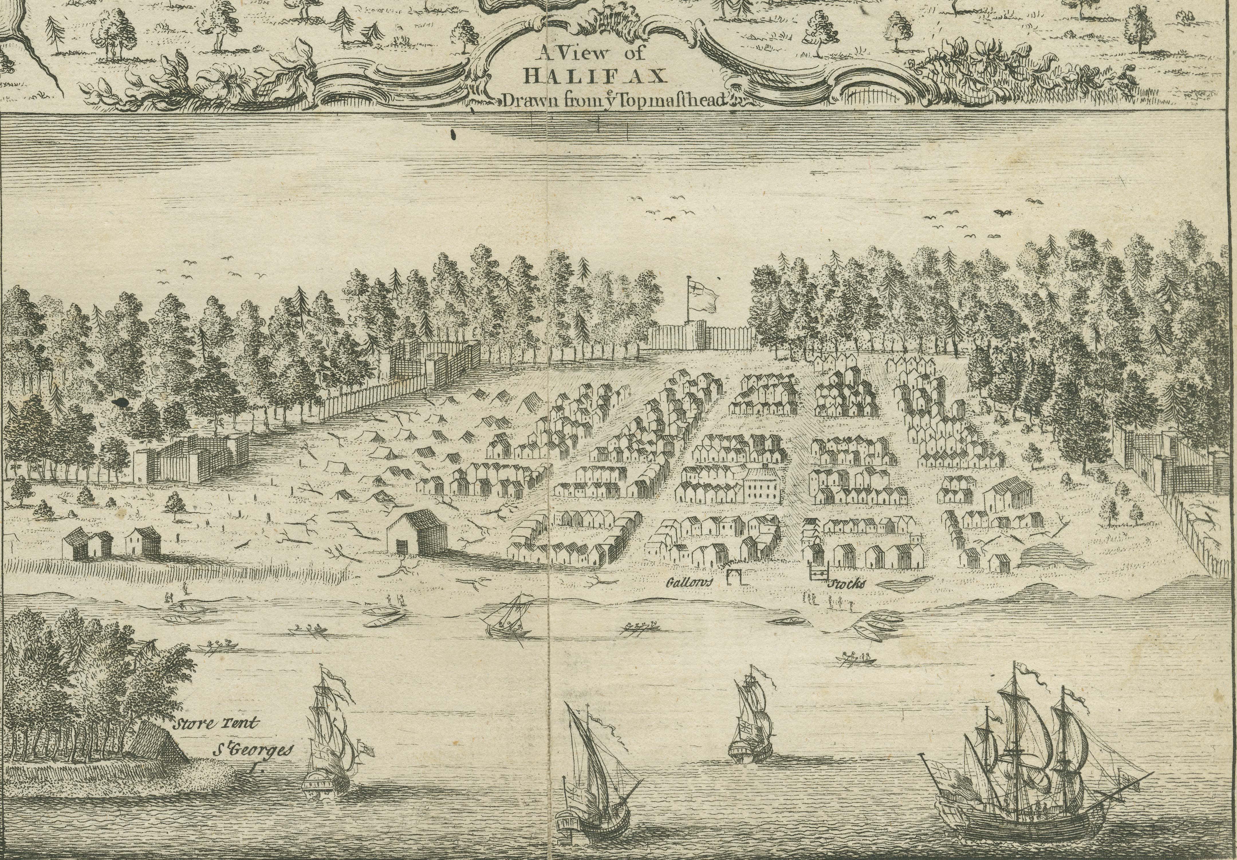 Sketch of Halifax, Nova Scotia, 1749.