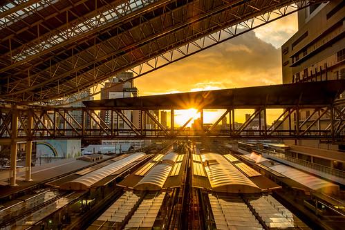 sunset osaka station railway railwaystation architecture sky sony rx100m3