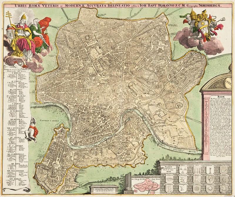Johann Baptist Homannus (1663-1724) - Urbis Romae veteris ac modernae accurata delineatio (1715)