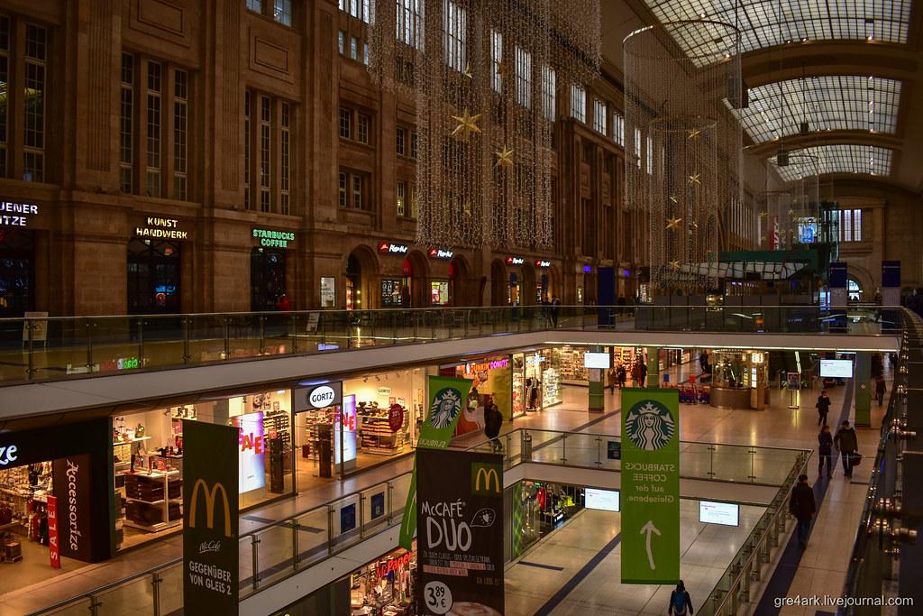 Главный вокзал Лейпцига с подземным торговым центром