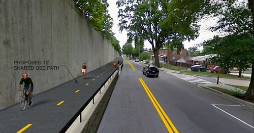 Rendering, Metropolitan Branch Trail cycletrack on Blair Road NW