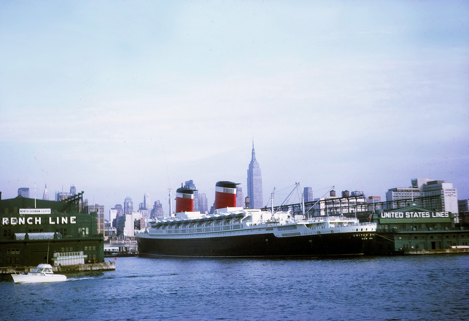 SS United States docked in New York harbor, August 1968.
