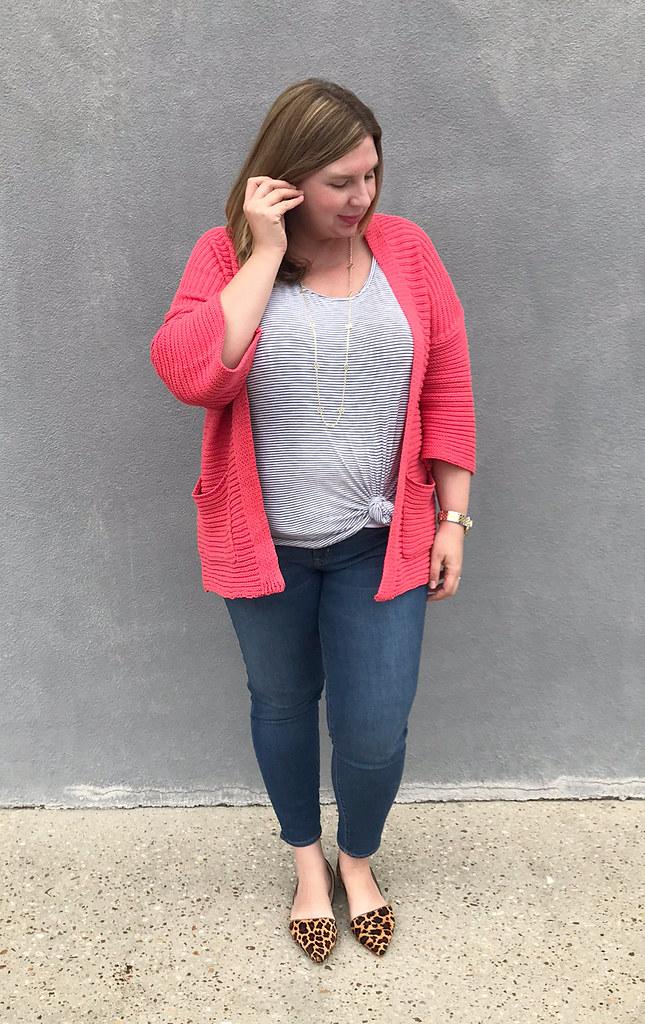 pink kimono cardigan, stripe tank, skinny jeans, leopard flats 5