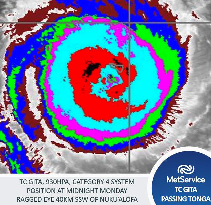 Imagery for Cyclone Gita when it was around Fiji.