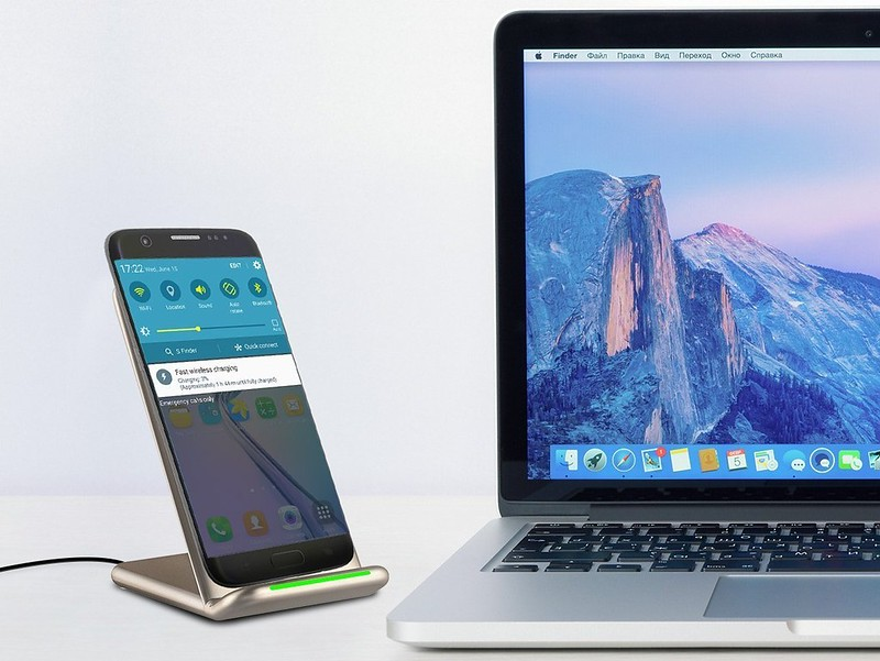 ワイヤレス充電器 qi 充電器 急速 iPhone X88 Plus 2.0 二つのコイル スタンド 置くだけ充電 温度制御 (7)