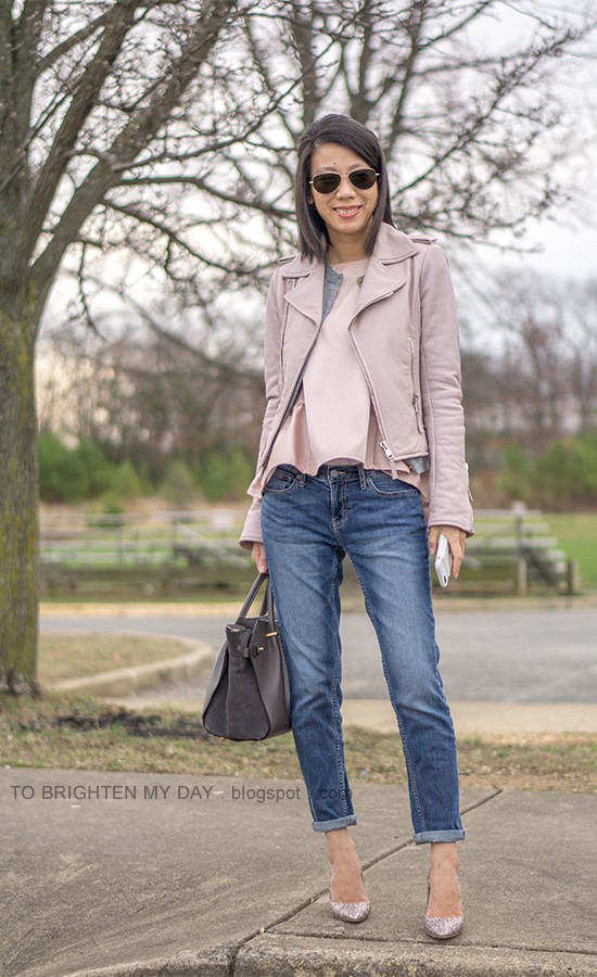lilac leather jacket, gray cardigan, pink peplum top, girlfriend jeans, gray suede tote, pink glitter pumps