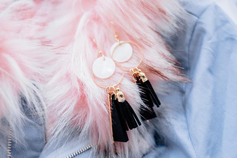 ROMWE triangle and tassel drop earrings