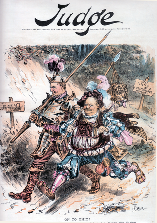 Cover of a September 1890 Judge magazine, showing Speaker Thomas B. Reed of Maine hurrying off with his Ways and Means chair, William McKinley, hoping (as it would prove, in vain) to save McKinley's seat after McKinley helped Reed keep his seat (Maine then voted in September). From McKinley Presidential Library, Canton OH