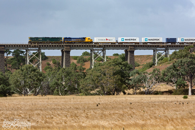G539 & XR552 with the up #9102 Mildura Fruity as it crosses over the Moorabool viaduct..
