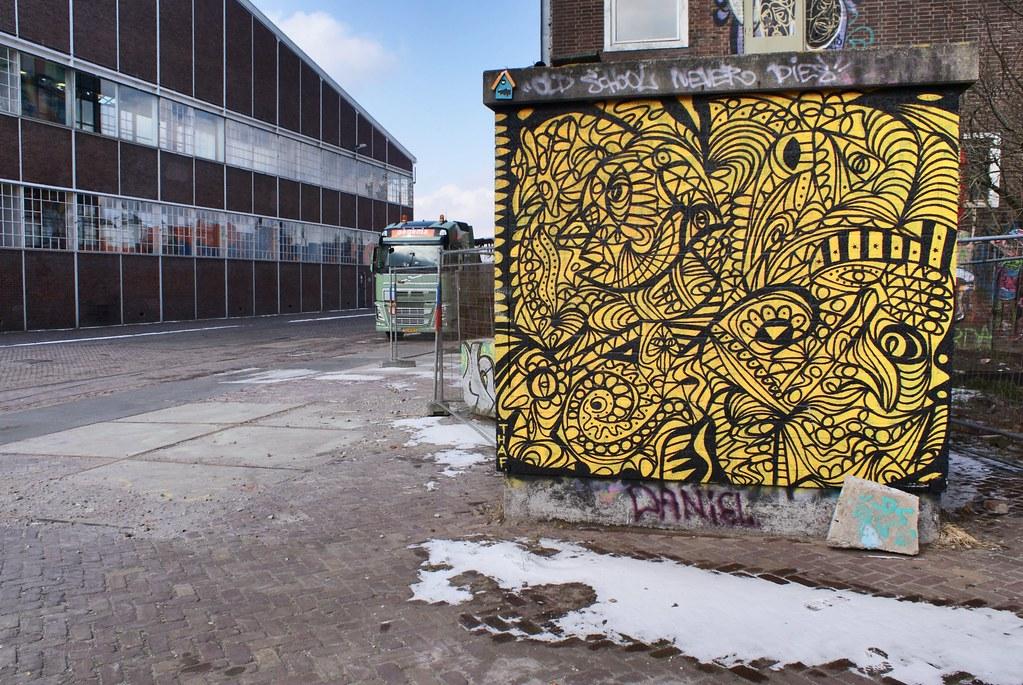 > Street art dans le quartier de NDSM d'Amsterdam.