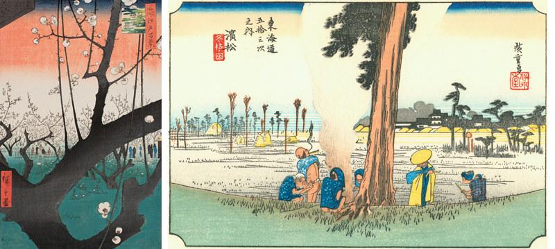 左)歌川広重《名所江戸百景/亀戸梅屋舗》(1857年、中右コレクション) 右)歌川広重《東海道五十三次/濱松》(1833-34年、中右コレクション、~2月12日)