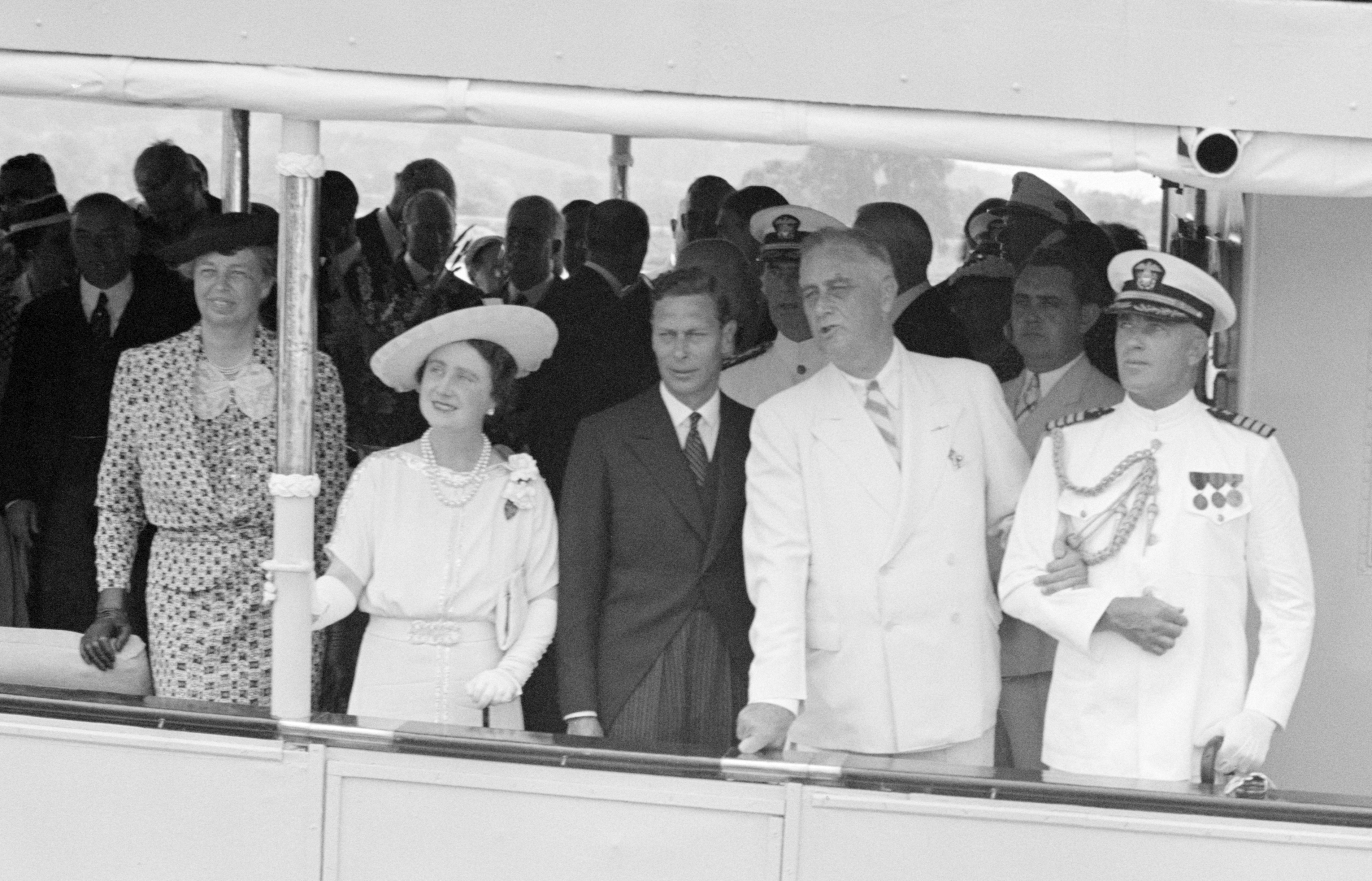 The Roosevelts with the King and Queen of Great Britain sailing from Washington, DC to Mt. Vernon, Virginia on the USS Potomac. June 9, 1939