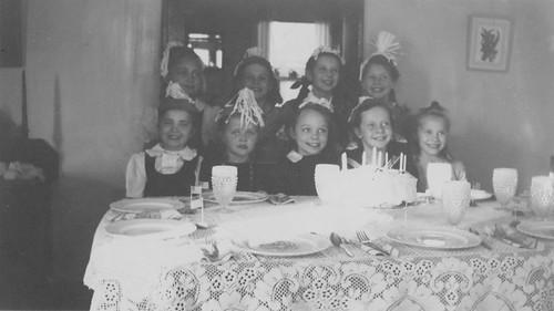 Marilyn at birthday party, ca. 1945