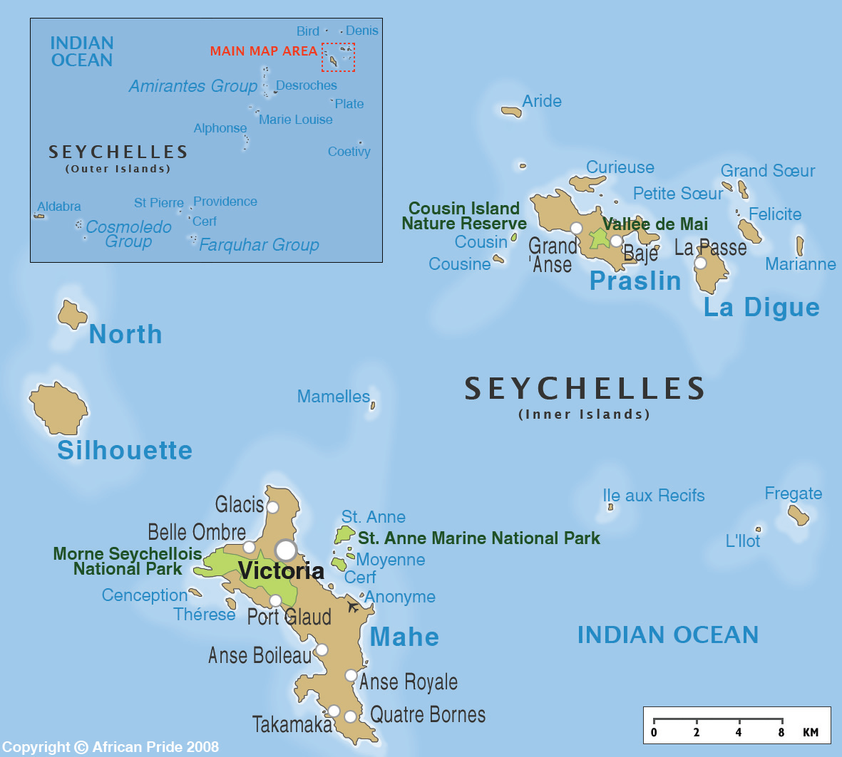Map of the Republic of the Seychelles