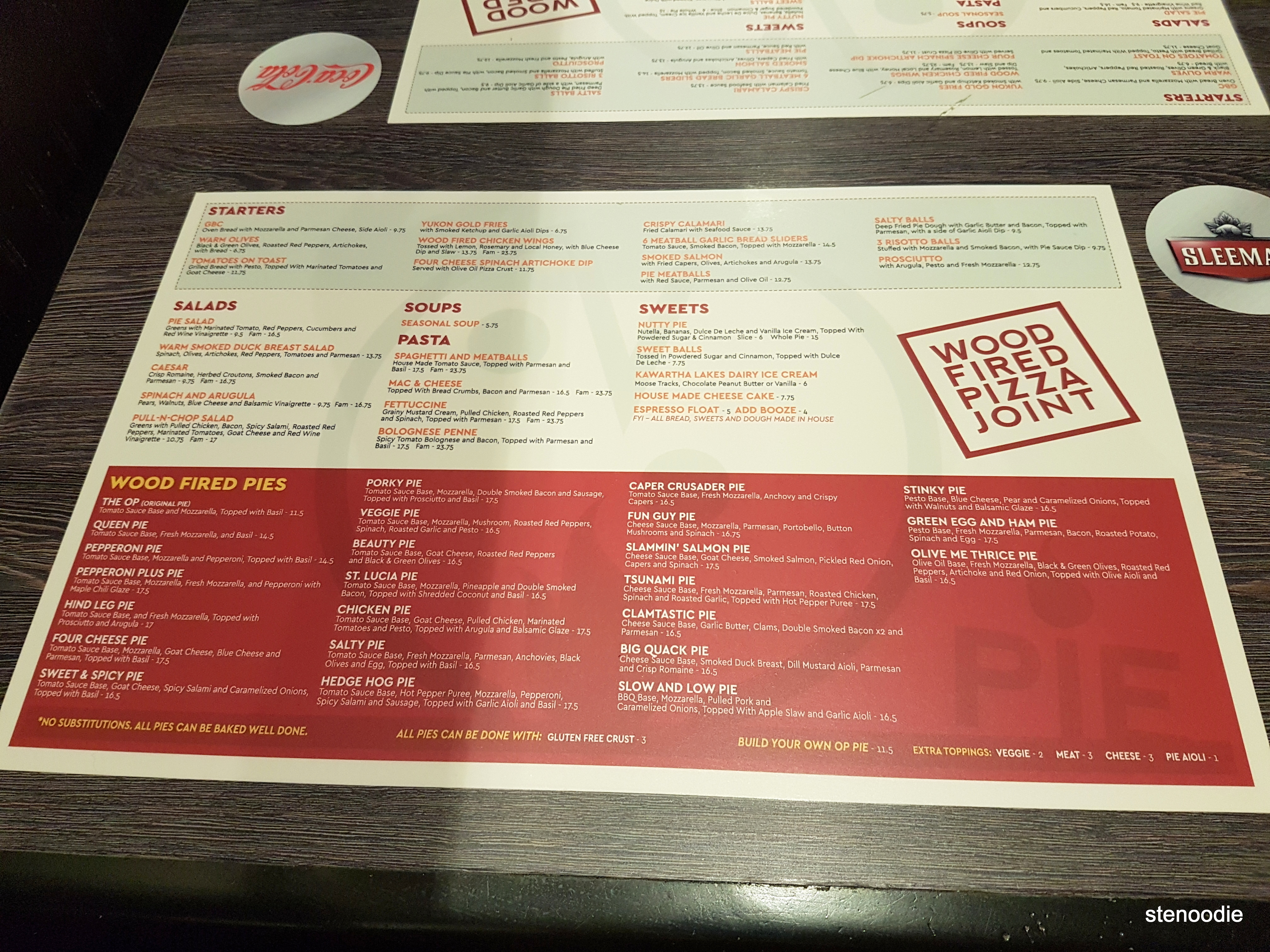 Pie Wood Fired Pizza Joint menu and prices