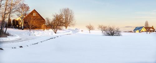 harpswell maine panorama winter snow dusk