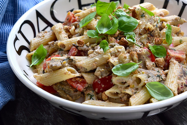 Penne with Walnut & Aubergine Pesto #pasta #pesto #walnut #aubergine #vegetarian