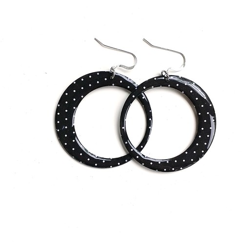 Paper and Resin Hoop Earrings by LC Studios