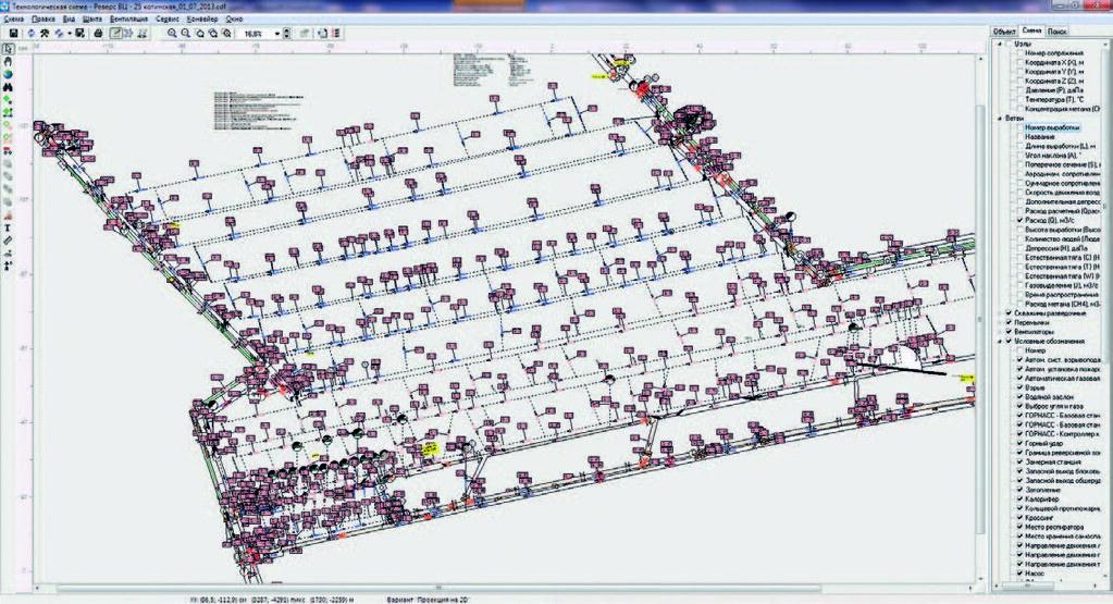 Экран вывода схемы шахты ПО «Вентиляция 2»