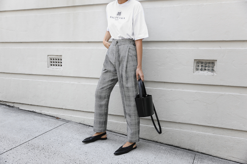 balenciaga logo tee t shirt street style fashion blogger minimal Ellery Kool Aid check pants staud bucket bag pointed flats Instagram (2 of 6)